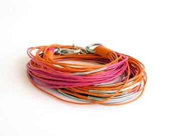 Multi Strand Wrap Bracelet, Tube Bracelet, Orange Fuchsia, Wrap Around Bracelet, Cord Bracelet, Boho Jewelry, Gift for Her