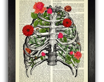 Anatomy Print, Rib Cage & Red Flowers Art, Anatomical Diagram Floral Poster, Red Bedroom Decor, Unique Gifts for Girlfriend, Vintage Artwork