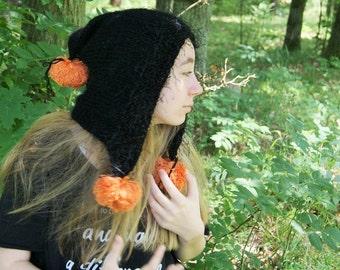 Pompon,Black Pixie hat,Gnom hat, elf,girls, women, boy, wool, acrylic, gnomes, hood, elf, dwarf, cap, petrol color, women gift, girl gift