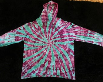 Men's 2XL Ice Tie Dye Hooded Long Sleeve T Shirt