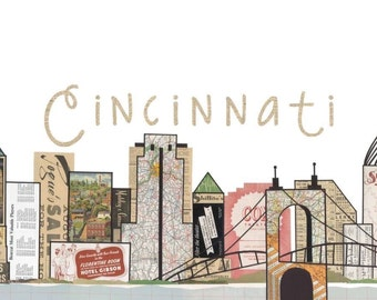 Cincinnati Skyline Ohio Prints Note Cards Cincinnti Post