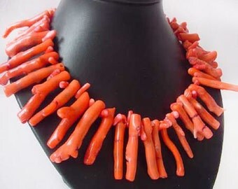 17 inches 8-40mm salmon Branch Shaped Natural Coral Necklace