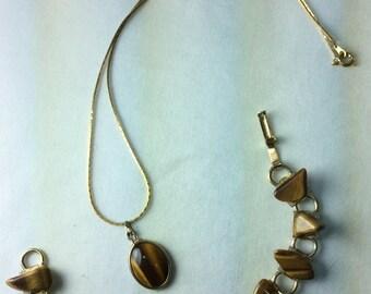Vintage Tiger Eye Necklace And Bracelet