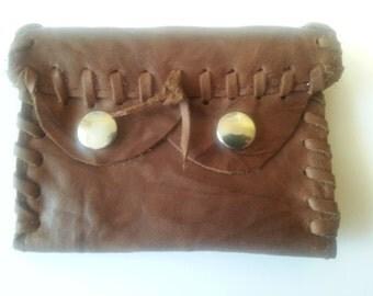leather wallet, purse, brown antik