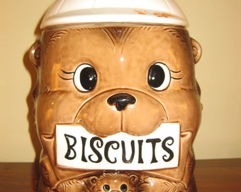 Vintage Bear with Baby Bear Biscuit or Cookie Jar