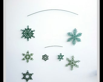 Snowflake mobile, tatted, green colors, tatting