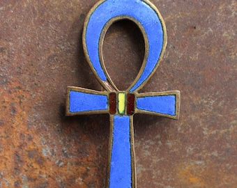 Enamelled on Brass Pendant Brooch Cross Egyptian Design
