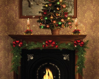3x4 Christmas Backdrop | Christmas Tree On Top of Fire Place | Christmas Background - FabVinyl 3x4 ft (FV9010)