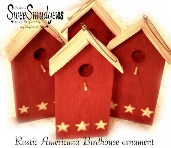 Rustic americana birdhouse ornaments key holder barn red white stars craft supply floral supply garden decor salvage wood hanging bird house