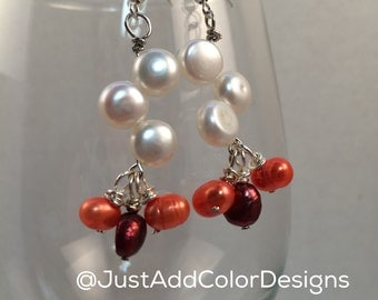 Maroon & Orange Zig Zag Pearls