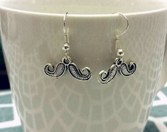 Silver Mustache Charm Dangle Earrings