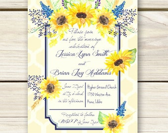 Sunflower Wedding Invitations - Yellow Honeycomb Pattern - Unique Invitations - Invitation Only