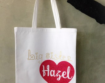 Personalized Big sister hospital tote bag, big sister gift