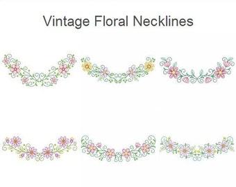 Vintage Floral Necklines Machine Embroidery Designs Pack Instant Download 5x7 hoop 10 designs SHE5139