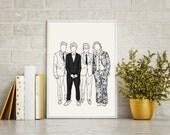 AMAs Print illustration Drawing Portrait Art Interiors Decor Matte Gloss One Direction Harry Styles Louis Tomlinson Niall Horan Liam Payne