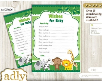 Boy Jungle Wishes for a Baby Shower, Well Wishes green Baby Jungle Shower DIY Animals -oz103bs6
