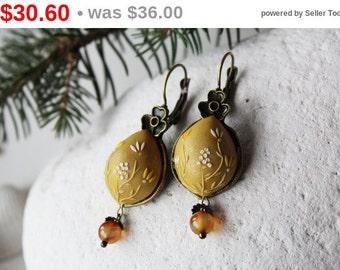 SALE Carnelian earrings, Mustard yellow earrings, Yellow flower earrings, polymer clay earrings, embroidered earrings, tiny earrings