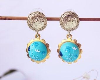 Teal blue earrings, post earrings, Sky blue flower earrings, turquoise blue vintage earrings, anniversary romantic gift for her