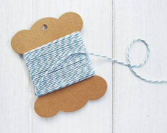 SALE! 20m Baby Blue Bakers Twine 12ply 22 Yards Gift Wrapping String Cord Light Blue White Twine