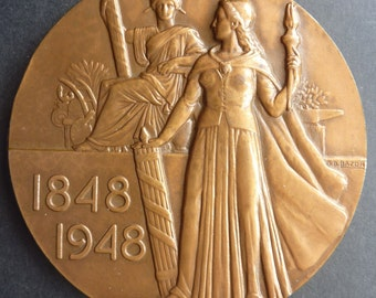 French Centenary Of The Abolition Of Slavery Medal 1848 - 1948. A Large & Scarce Bronze Medal
