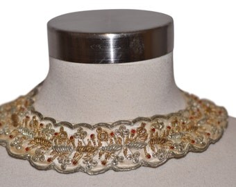 Vintage Estate 1920s Beaded Embellished Collar Made in India