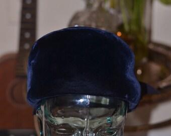 Vintage Estate Navy Blue Velour Hat