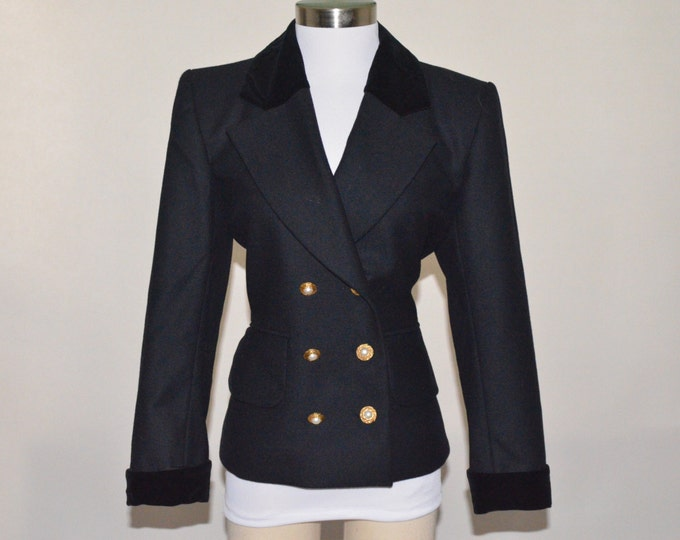Vintage Estate Saint Laurent Rive Gauche Black Wool Double Breasted Blazer Velvet Trim Collar Sleeve Made in Paris France