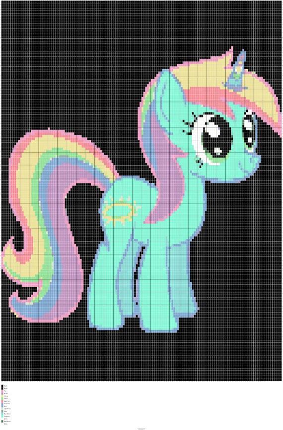 Crochet My Little Pony Unicorn Chart Unicorn Colorwork Graph