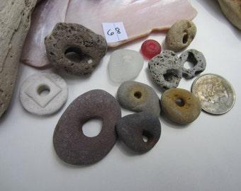Genuine Beach Rocks, Glass, Porcelain with Natural Holes
