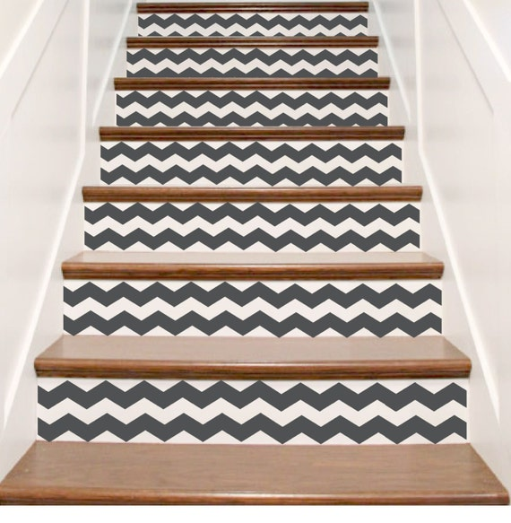 vinyle chevron escalier riser stickers stickers escalier. Black Bedroom Furniture Sets. Home Design Ideas