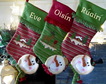5 x  snowman christmas stockings - embroidered with names