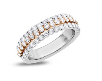 1.50 Ct. Natural Diamond 3 in 1 Wedding Band Ring Solid 14k White/Rose Gold