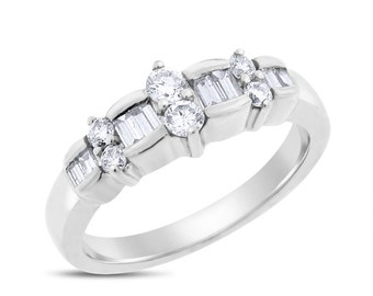 0.75 Ct. Natural Diamond Anniversary Wedding Band Ring In Solid 14k White Gold