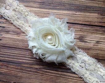 Ivory Lace Shabby Flower Headband, Newborn Headband, Baby Headband, Toddler Headband, Girls Headband, Photo Prop
