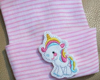 Newborn Hospital Hat with Unicorn! Choice of Hat Color. Newborn Hat for Your Baby. Every Baby Should Have One. This is an Exclusive