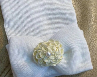 Newborn Hospital Hat Baby's 1st Keepsake!. Newborn Baby Hats. With Pretty Bow,  Flower and Pearl. Choice of Flower