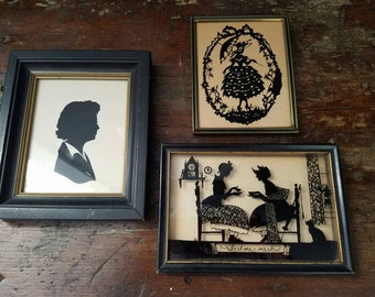 Charming Set of 3 Vintage Silhouettes ~ items brought to you by Vintage Chaos