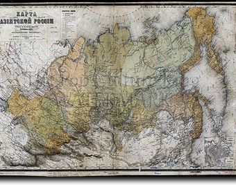 Historic Map of Russia from 1868 (Reproduction) Photo Poster Print Gift