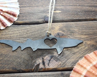 Shark Love Rustic Metal Recycled Steel Heart Christmas Tree Ornament Holiday Gift Industrial Decor Wedding Favor By BE Creations