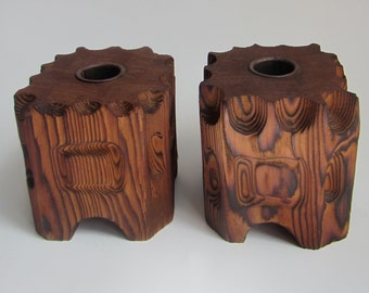 Rustic Vintage Cedar Block Candlestick Holders