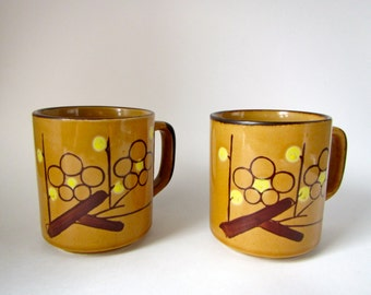 set of two abstract floral vintage korean mugs