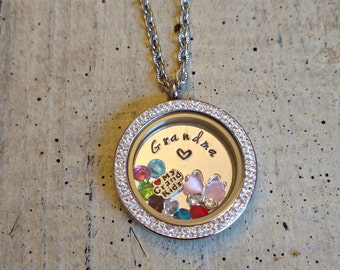 Hand Stamped Floating charms Memory locket Necklace grandma Mother Nana MOM Mawmaw custom personalized grandchildren's birthstones