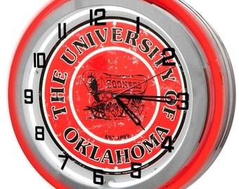 Oklahoma University Sooners Red Double Neon Clock