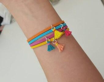 Single Suede and Tassel Charm Bracelet