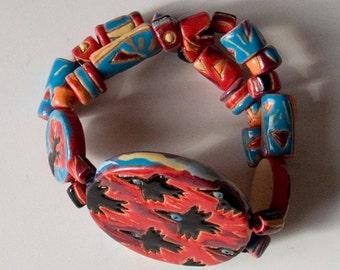 "Ceramic jewelry,artistic jewelry, jewelry bracelet, ceramics, majolica, ceramic bracelet ""Sunset"""