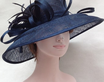 Church Kentucky Derby Carriage Tea Party Wedding Wide Brim Woman's Royal Ascot Hat in Solid Sinamay Hat Navy Blue