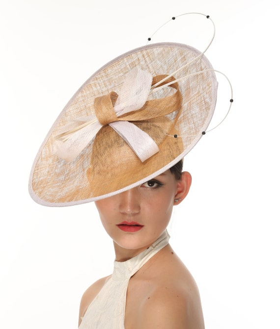 sinamay disc fascinator hat with quill and pearl beaded detail