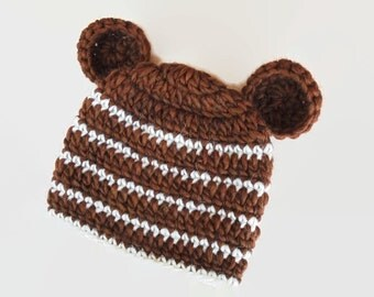 Baby bear hat Brown bear hat Newborn bear hat Crochet baby hat Baby hat with ears Baby animal hat Teddy bear hat  Newborn bear beanie