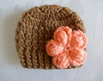 Crochet baby hat Newborn girl hat Brown baby hat Tan baby hat Baby girl hat Winter baby hat Baby hats for girls Crochet newborn hat