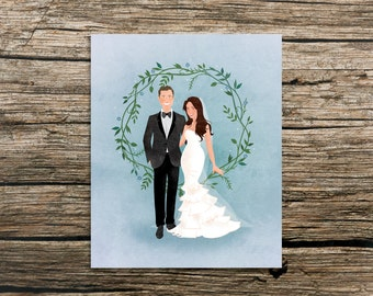 Custom Wedding Portrait & Print - Rustic Wreath Design